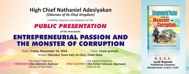 Attend The Entrepreneurial Book Launch 2016 with the Ooni of Ife