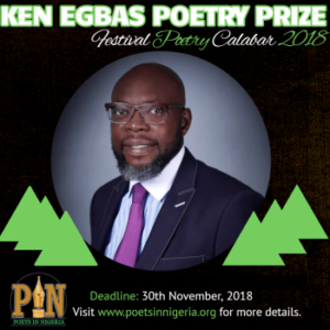 Flier for Ken Egbas Poetry Prize