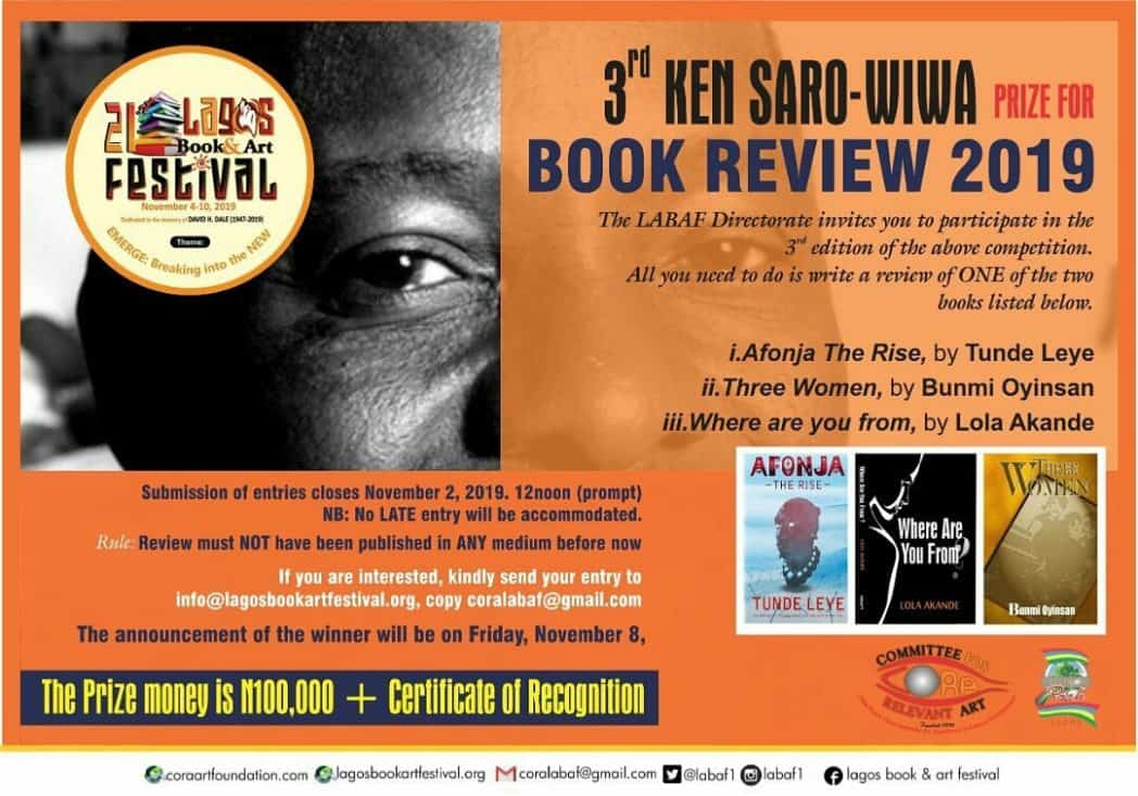 Read and Win in the 2019 Ken Saro-Wiwa Prize for Book Review